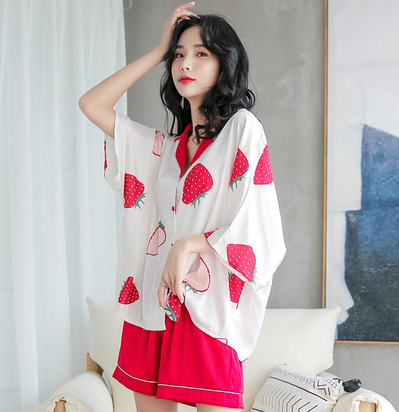 夏季冰丝性感可爱学生宽松草莓睡衣(非品牌)