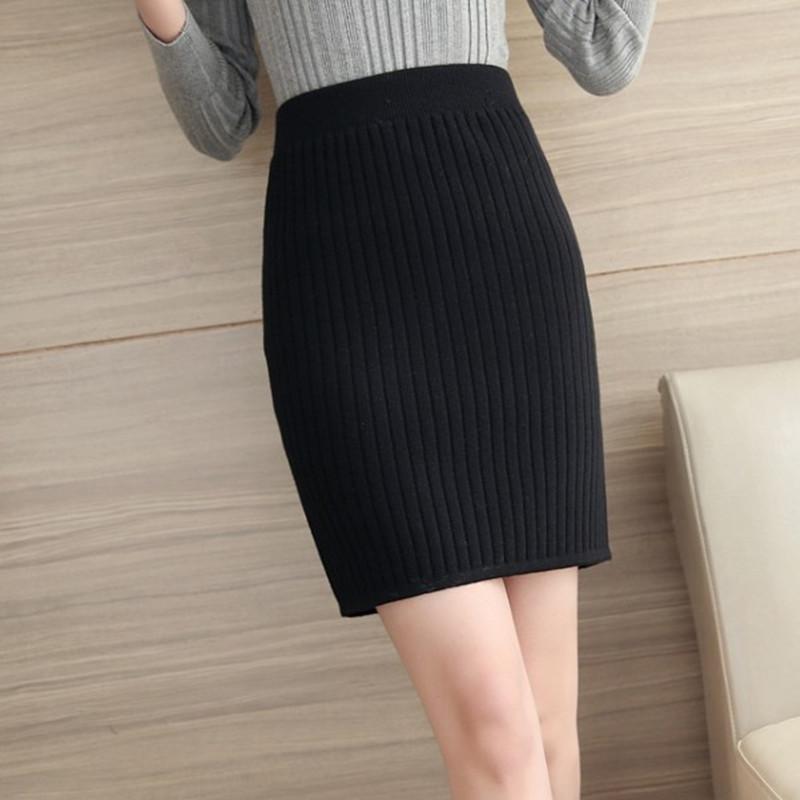 Autumn and winter Korean womens half length skirt Wool Wrap Skirt wrap skirt Mini wrap hip skirt short skirt knitting one step skirt large size