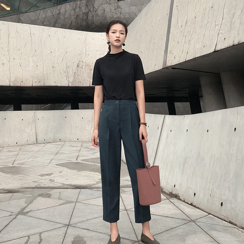 Pacify spring and autumn fashion show thin tapered pants womens high waist suit pants vertical sense nine point casual Formal Pants