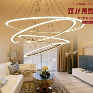 北欧椭圆环状多层吊灯 亚克力客厅灯潮流家装餐吊灯简约异型灯