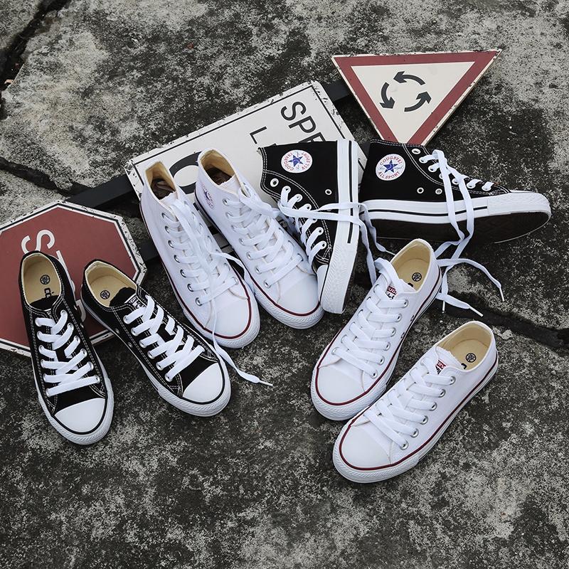 名仕匡威帆布鞋女黑色低帮复古女鞋白色高帮经典款学生情侣休闲鞋