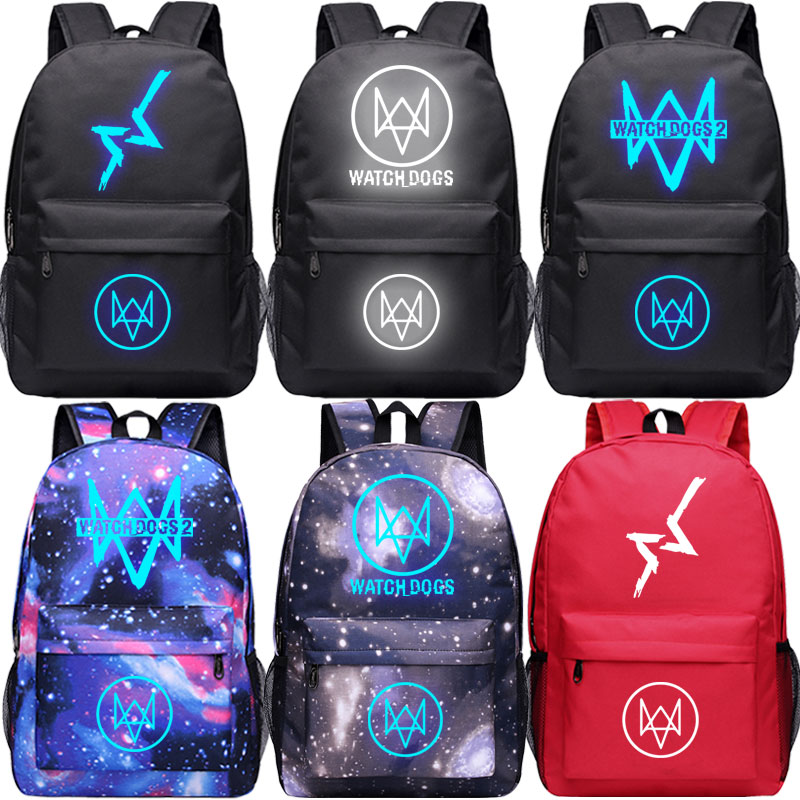 Night light watchdog 2 backpack games peripheral schoolbags watch dogs boys and girls canvas backpacks