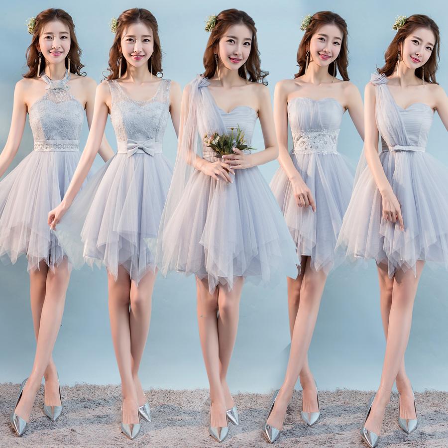 热销747件五折促销姐妹灰色韩版显瘦夏季新款伴娘服