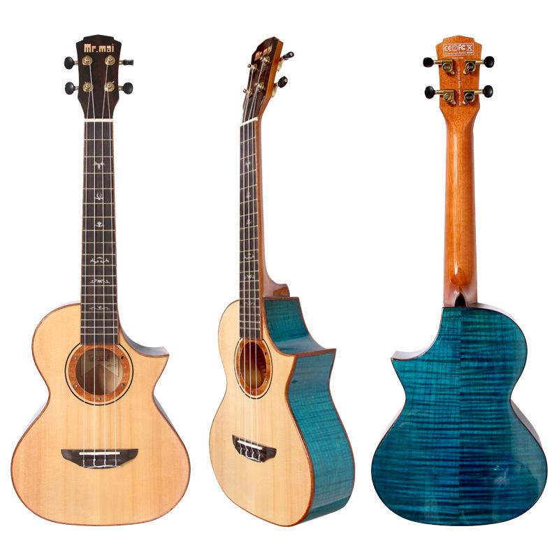 T-shaped Blue Maple 26 inch single board ukulele ukulele small guitar four string piano