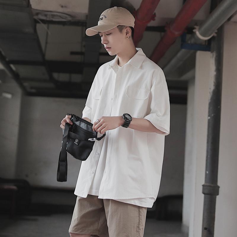 夏季简单干净纯色百搭工装风短袖衬衫男潮流白色衬衣宽松休闲中袖