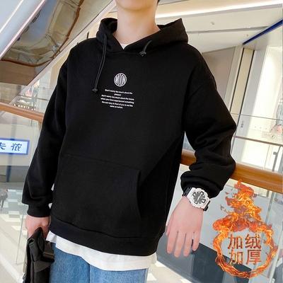 冬季新款日系港风学生韩版宽松加绒加厚连帽卫衣大码潮WY1014P50