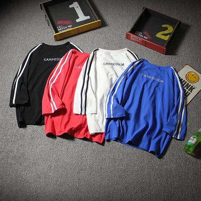 2018夏季新款肩部条纹织带背后刺绣宽松日系七分袖男T恤T742-P35