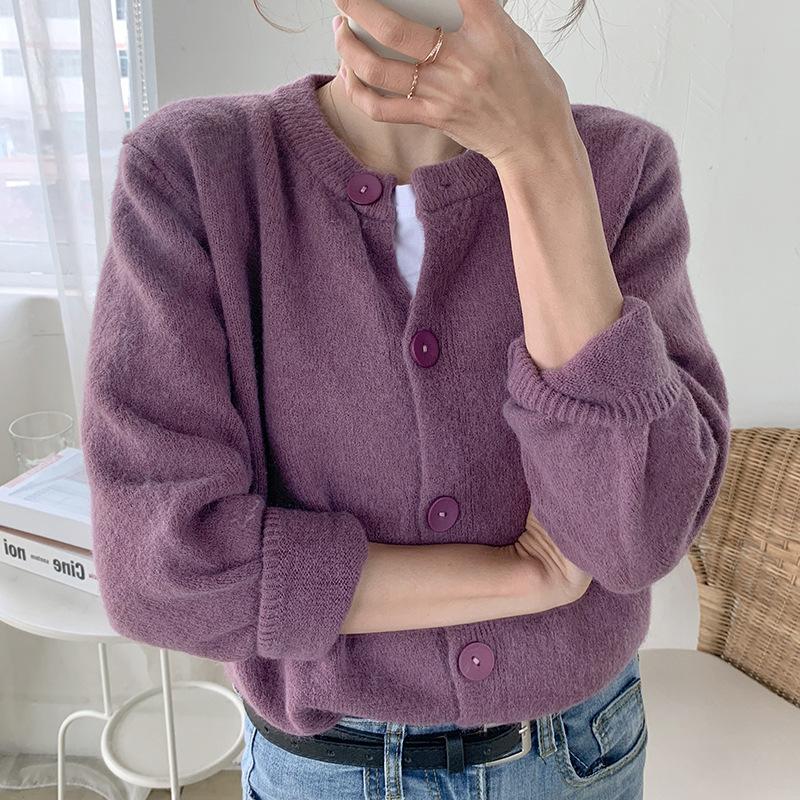 紫色温柔风羊绒毛衣开衫女2020年新款春秋短款圆领针织衫外套上衣