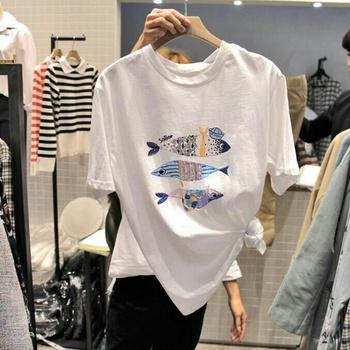 韩国2018夏装新款圆领小鱼刺绣白色纯棉大码宽松T恤女ins超火短袖