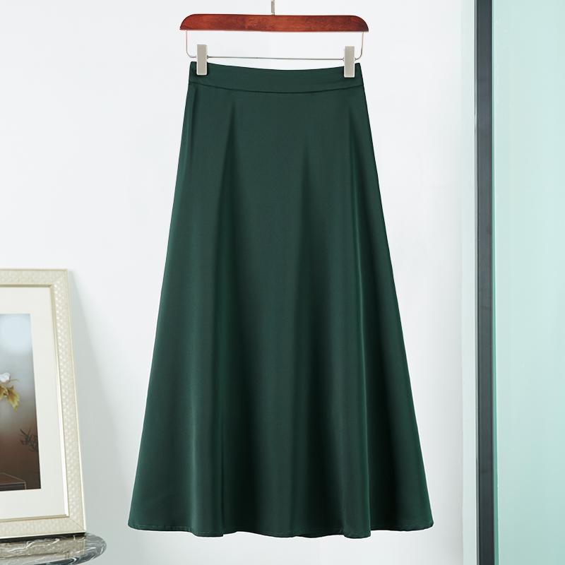 绿色中长款半身裙春夏季网红裙子大码遮肚子伞裙垂坠感长裙大摆裙