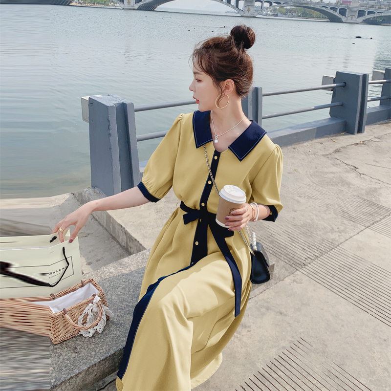法式衬衫裙2021年夏季新款韩版梗桔初恋裙森系仙女超仙修身连衣裙