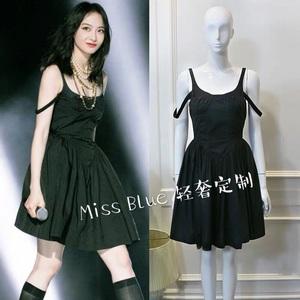 2020夏季新品创造营宋茜同款黑色双层吊带蓬松公主裙收腰显瘦气质