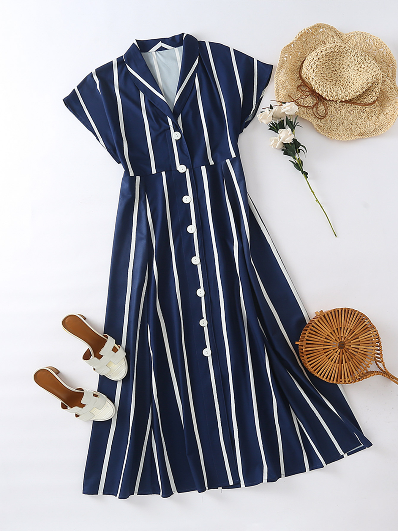 2020 new European and American striped shirt dress with V-neck showing thin waist, dark light cooked net red popular French style