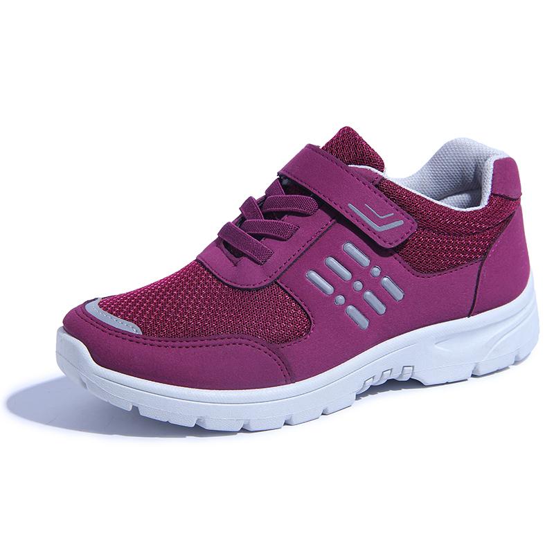 妈妈干活穿的鞋不累老头老太太运动软布鞋女老年人红鞋子女士女鞋