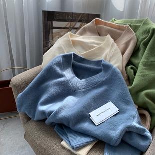 日本订单。加厚仿阿尔巴卡羊驼绒少女慵懒针织衫V领宽松毛衣女士