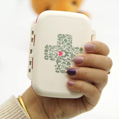 日本随身便携女分药盒小密封一周携带药盒旅行保健品盒子药品分装