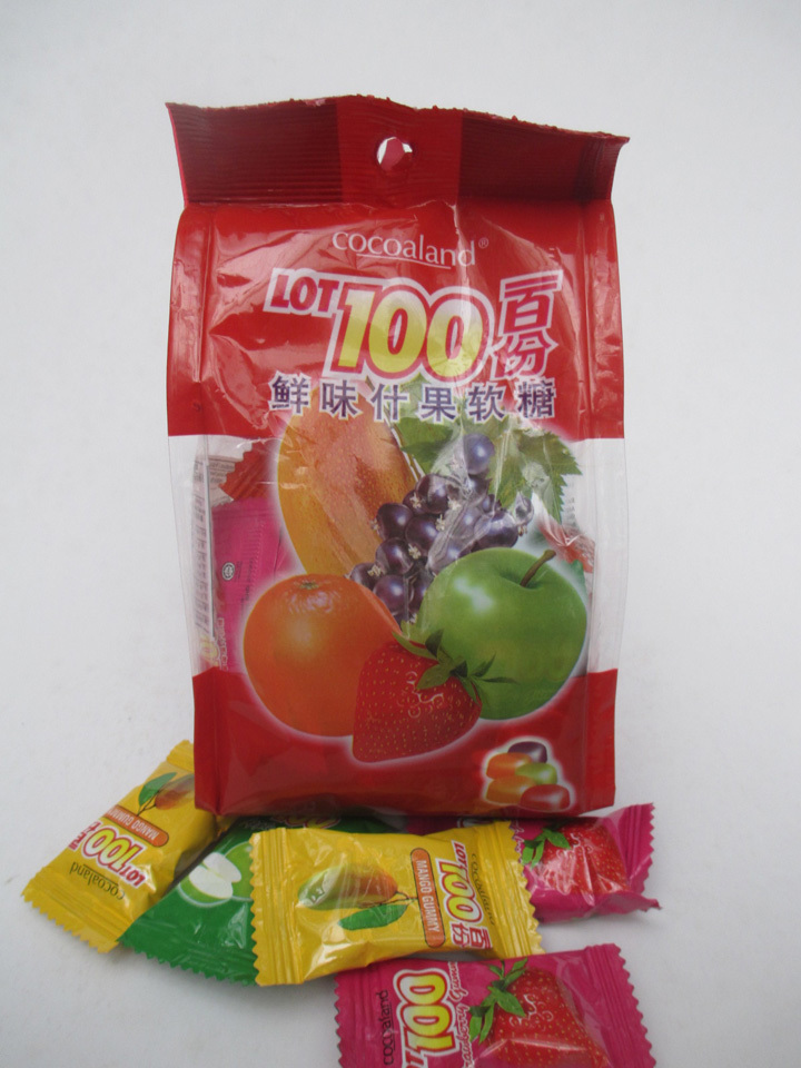Malaysia imported Le 100 lot100 100 Assorted Fruit juice soft candy snacks 150g