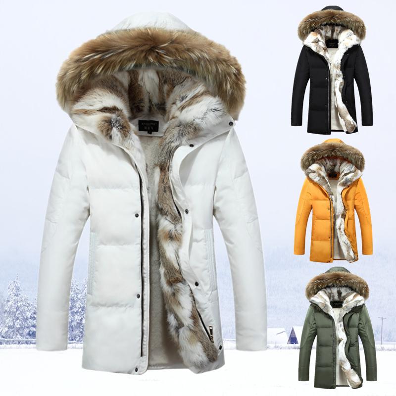 2016 зимние новые вниз пальто длинные и мягкие проложенные меховой воротник пальто тонкий молодых корейских мужчин среднего возраста
