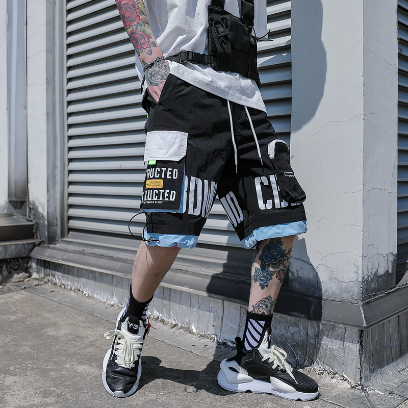 5-point pants mens loose casual high street shorts hip-hop work clothes Capris trend versatile functional sports net red