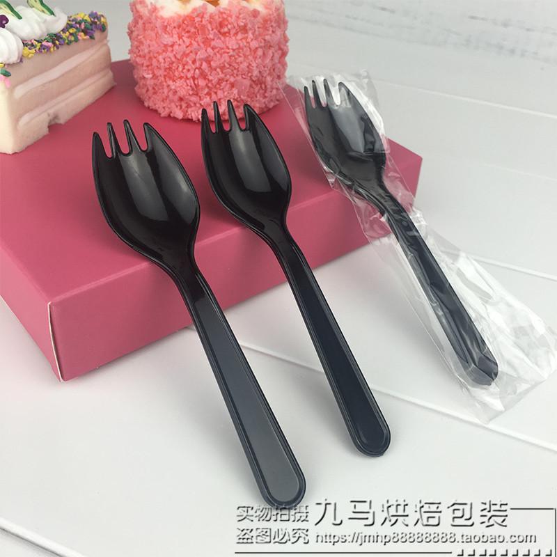 Одноразовые черный вилка и ложка вилка и ложка один ложка торт вилка и ложка западный точка вилка индивидуальная упаковка вилка и ложка