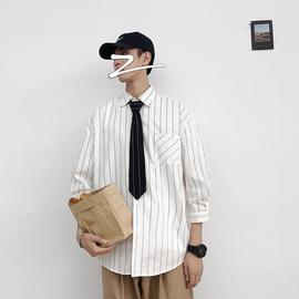 夏季潮牌ins领带衬衫男装帅气条纹长袖衬衣韩版潮流宽松百搭外套