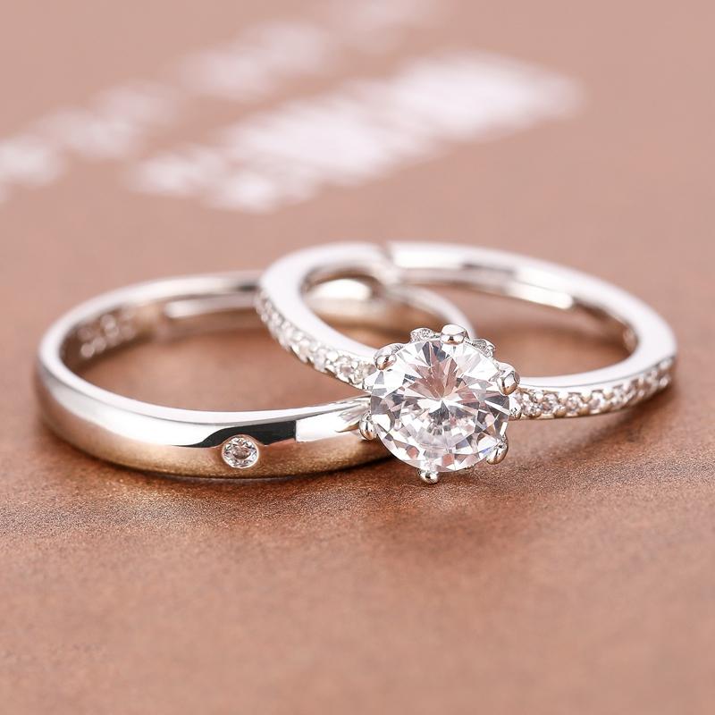 22.90元包邮结婚典礼当天用的假交换戒指道具婚戒仪式仿真钻戒可调节一对对戒