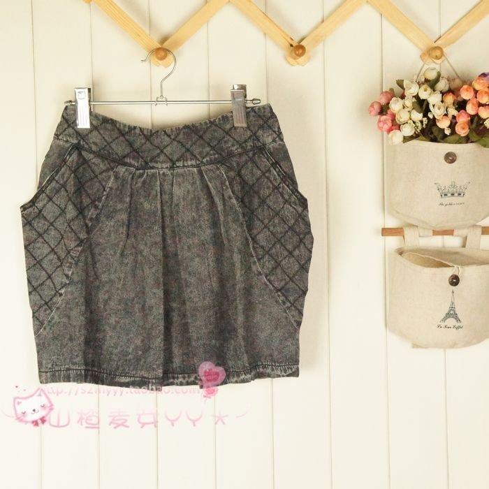 Summer retro Sven wash denim simple Korean version elastic waist bag hip zipper slim straight tube one-step skirt