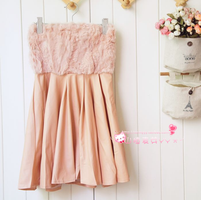 2020 wrap chest vest dress Japanese womens PU leather real rabbit hair noble elegant temperament AA pleated skirt