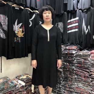 中老年秋装妈妈洋气 时尚连衣裙中长收腰35岁中年女士打底裙显瘦