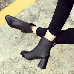 真皮高跟短靴2020秋冬新款女鞋欧洲站加绒粗跟靴子短筒百搭马丁靴