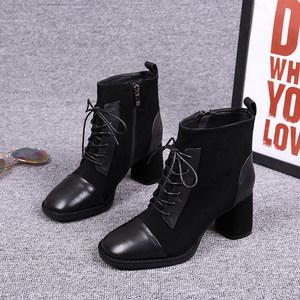 女靴子2019秋季新款方头粗跟磨砂真皮中跟系带百搭马丁靴加绒短靴