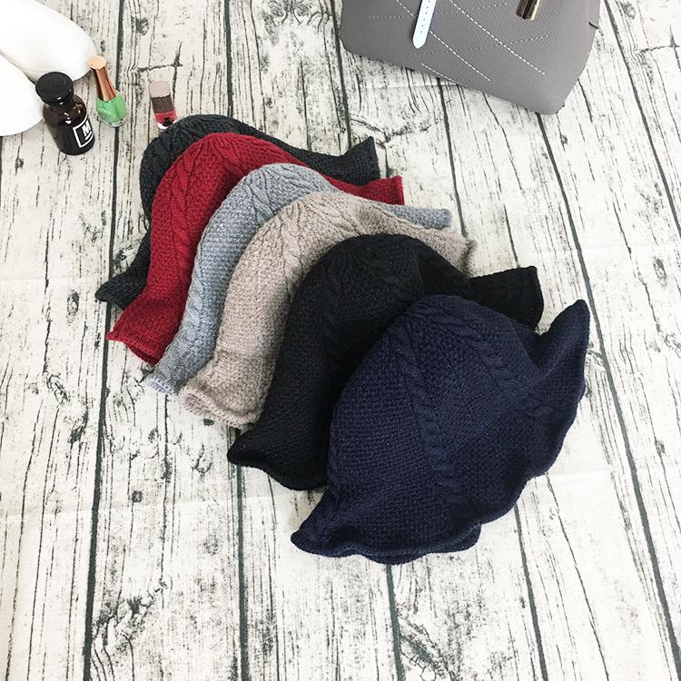 (用3元券)帽子女冬大头围渔夫帽复古韩国青年盆帽韩版百搭英伦针织毛线帽潮