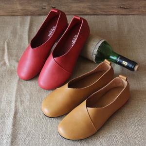 阿奈诗新款森系真皮复古文艺女鞋原创手工鞋平底浅口大码舒适