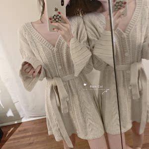 【Rain Col】韓代ins風 慵懶收腰綁帶V領粗針織麻花毛衣連衣裙