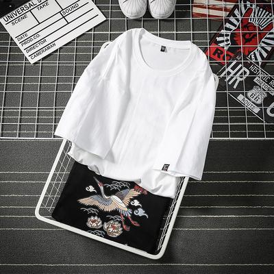 短袖T恤男日系印花纯棉落肩男女款体恤国潮麒麟风七分袖8017-P35