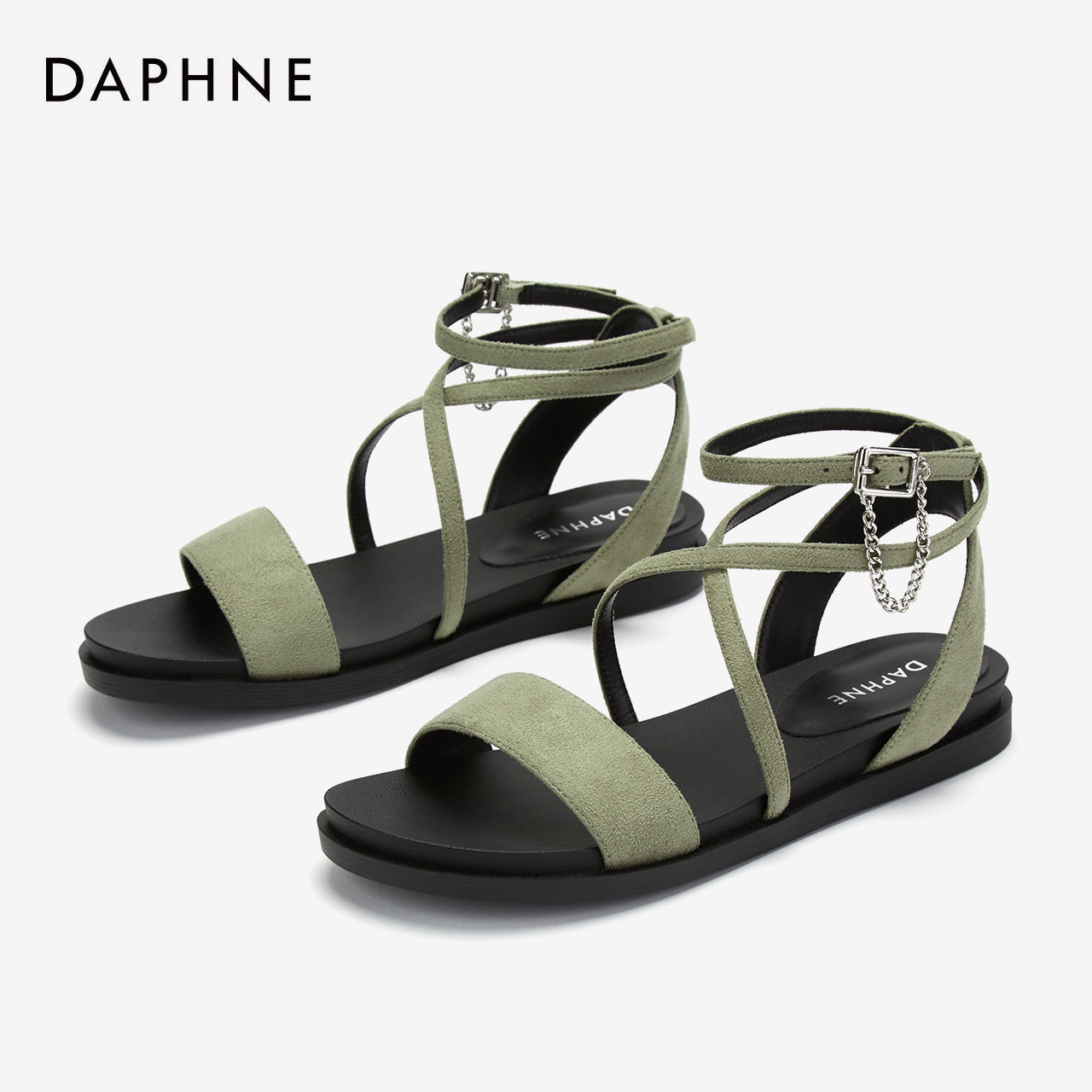 Daphne womens shoes 2020 summer new sandals Roman style around ankle flat sandals with suede stitching