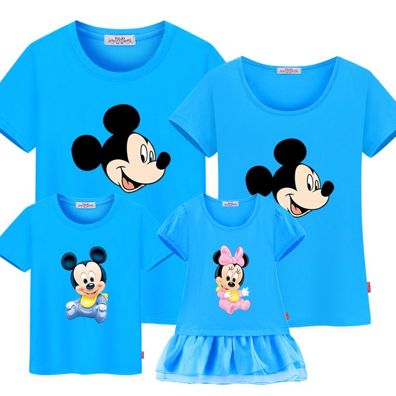 親子裝夏裝全家裝三口 家庭裝2017 棉寬鬆短袖 沙灘T恤