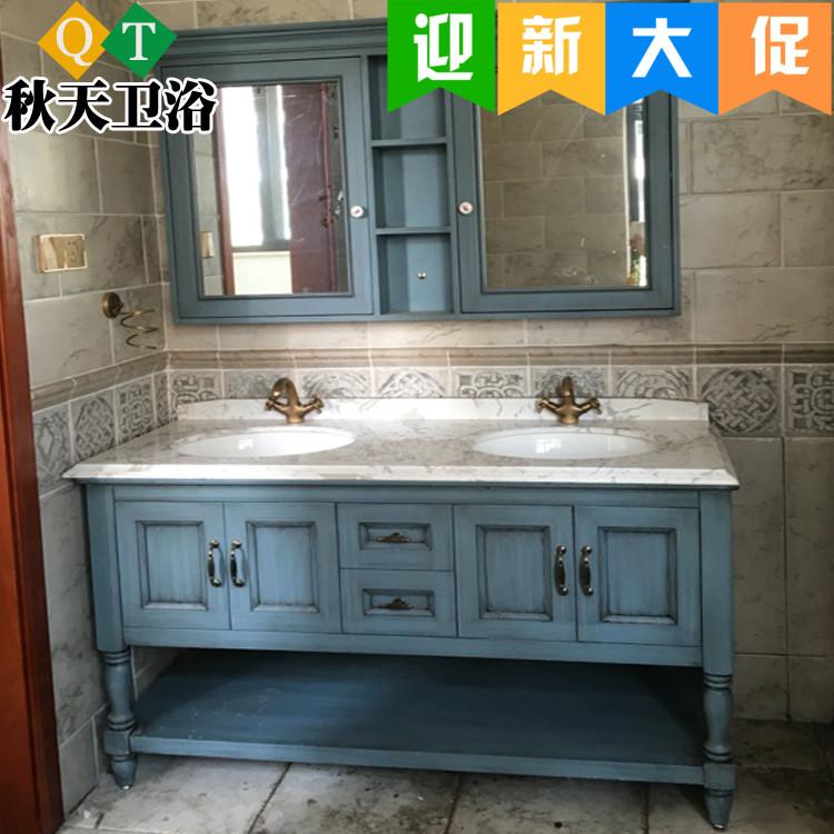 美式橡木双盆地中海田园组合浴室柜满100元可用10元优惠券