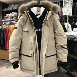 19新韩版男女情侣中长款大毛领加厚保暖运动户外滑雪白鸭绒羽绒服图片