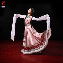 烟云舞西藏族藏式藏舞贵拉卓玛女舞蹈表演演出服装套装水袖长裙