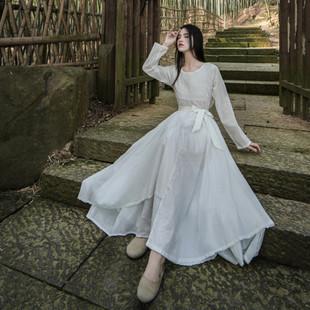原創文藝楊麗萍暗黑山本風長袖不規則超大擺飄逸和風連衣裙長裙仙