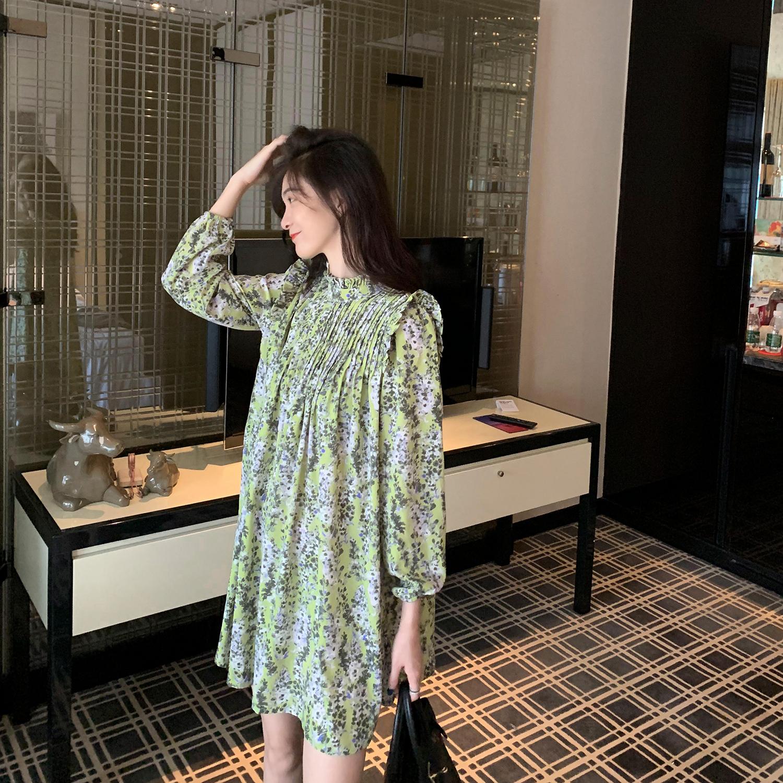 券后108.00元THE HANDLE/浮士德樱绿秋季长袖a字碎花连衣裙显瘦气质法式复古裙
