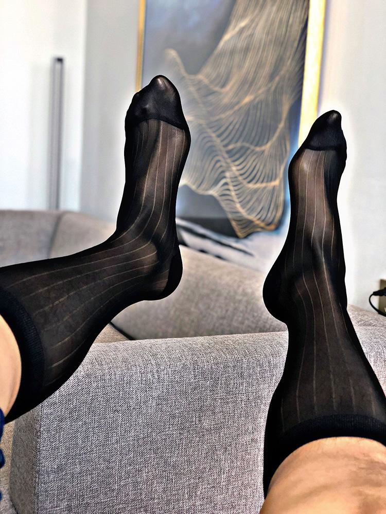 大山先生超薄男士中筒厚薄木宽条纹带跟锦纶日本商务正装男丝袜