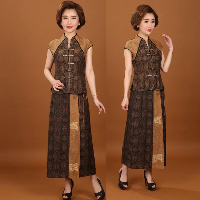 香云纱套装夏装两件套半身裙真丝中年妈妈装桑蚕丝唐装女装套裙