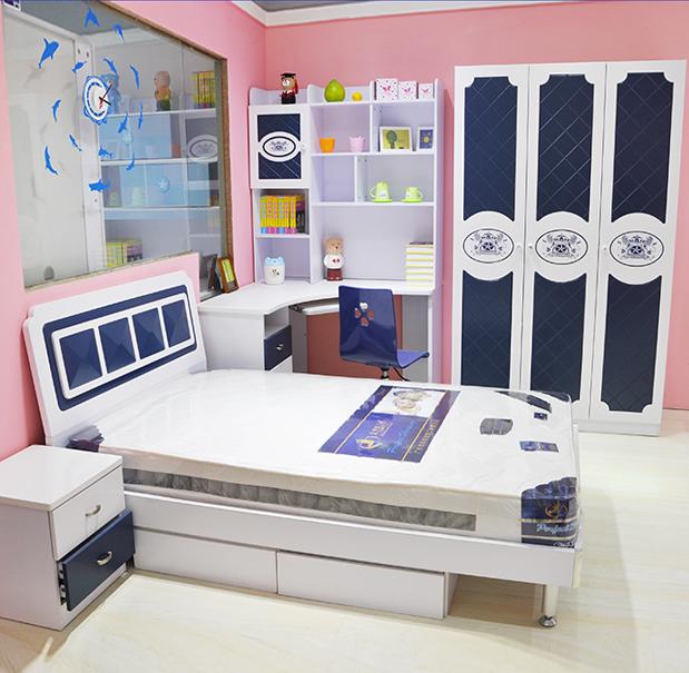 Подросток детские мебель мужской Комплект мебели для спальни для детей голубой 1,2 \ 1,5 метра детские кровать