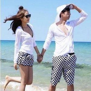 包邮新品性感韩国海滩裤速干面料沙滩拉链开衫帽衫方格情侣装泳衣