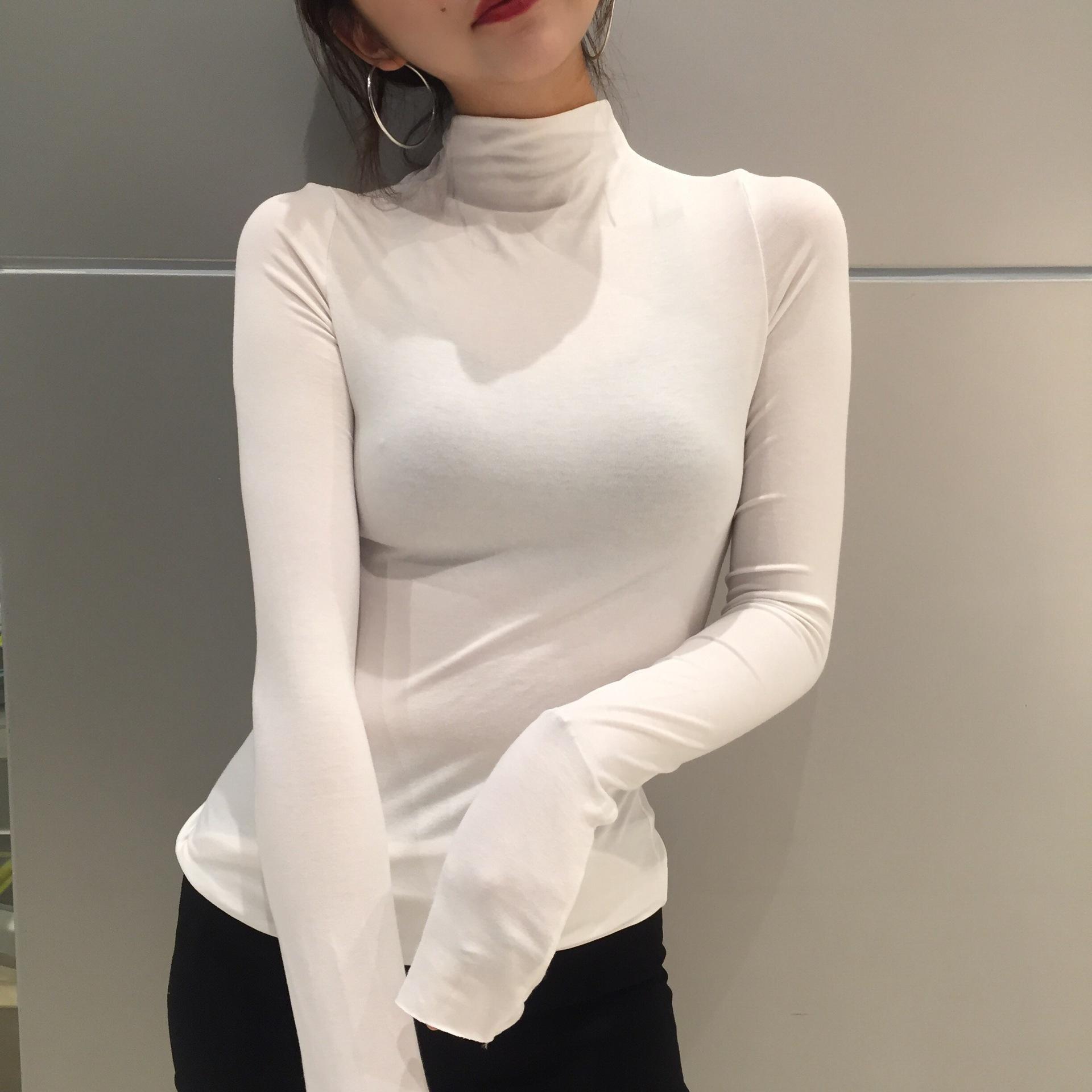 基础款多色半高领打底衫2019秋韩版修身保暖长袖T恤女DN770