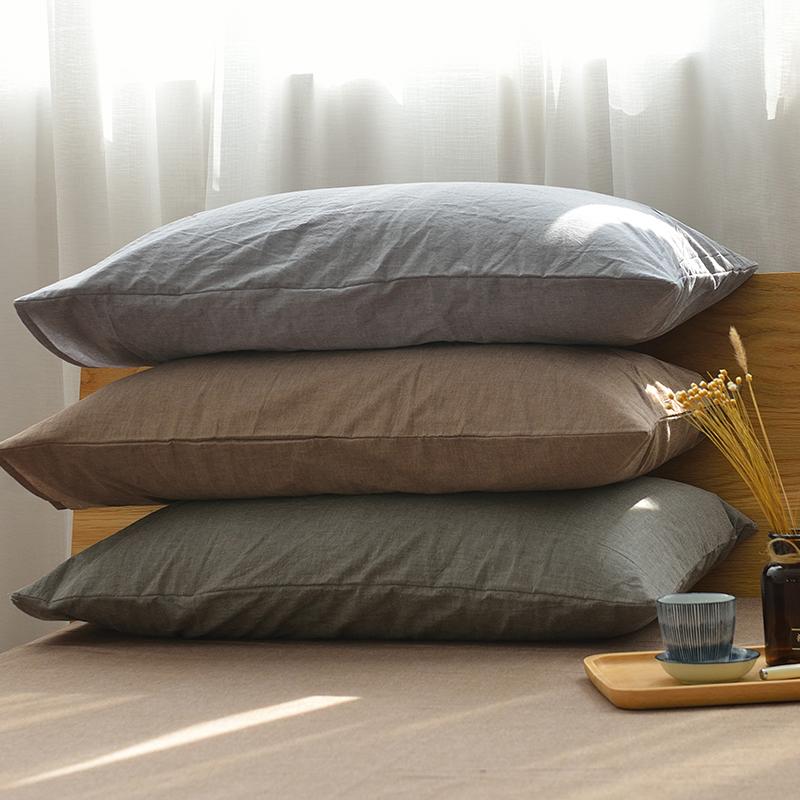 36.00元包邮良品水洗棉全棉枕套枕头套纯棉单人纯色简约单件枕套一对包邮