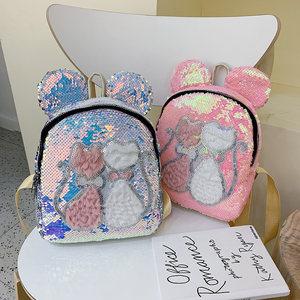 韩版亮片米奇双肩包休闲出游逛街儿童小书包可爱猫公主潮背包配饰