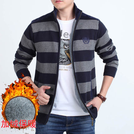 Field Jipu sweater mens cardigan coat autumn and winter Plush thickened striped knitwear stand collar jacket